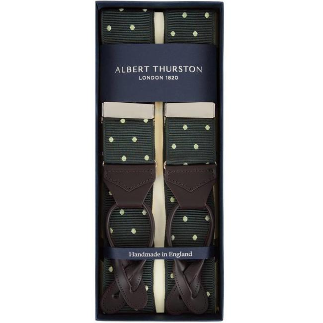 Green with White Polka Dots Braces Suspenders