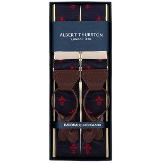 Albert Thurston Braces Navy Red French Lily