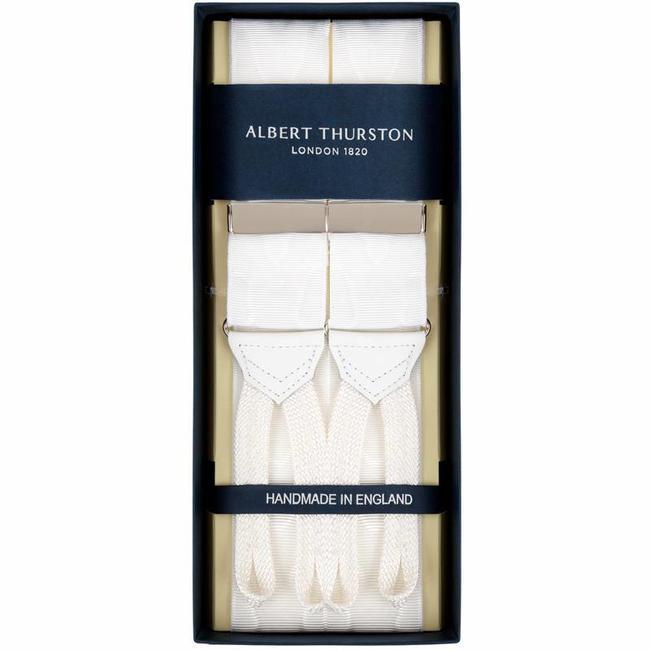 Albert Thurston Hosenträger Weiß Moiré