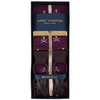 Albert Thurston Braces Burgundy Skull & Bones