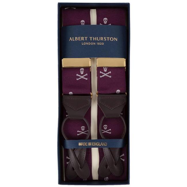 Albert Thurston Hosenträger Weinrot Totenkopf-Muster