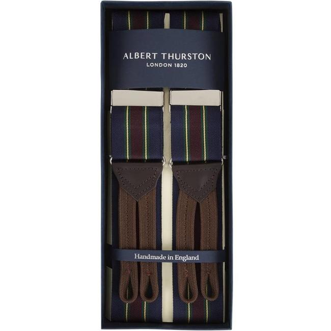 Albert Thurston Bretels Navy Wijnrood Groen