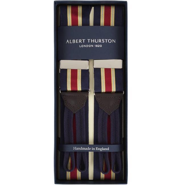 Albert Thurston Hosenträger Navy Weinrot Hellblau