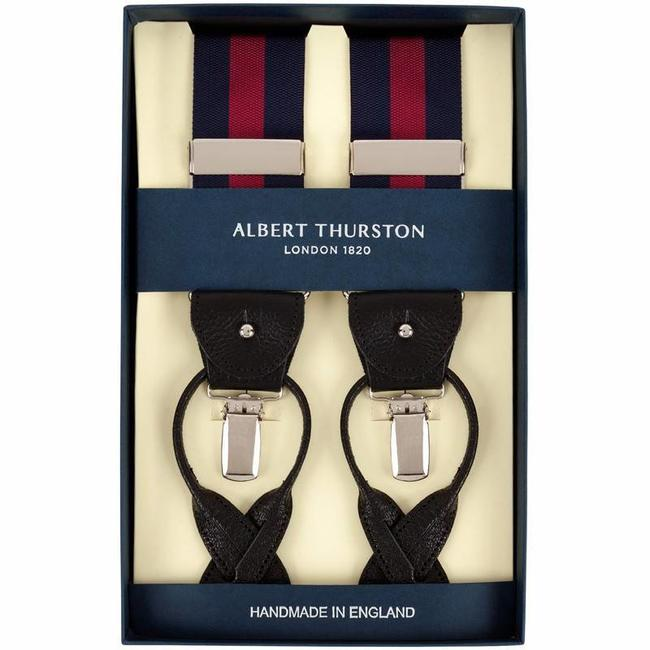 Albert Thurston Hosenträger Marine Rot