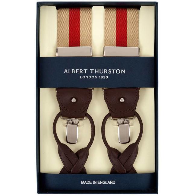 Albert Thurston Hosenträger Beige Rot