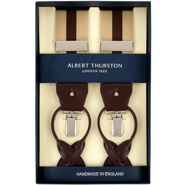 Albert Thurston Hosenträger Beige Braun