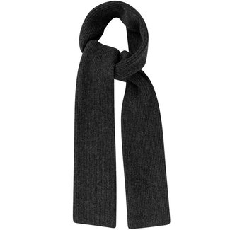 Mr. Crevan Plain Rib Wool Scarf Charcoal