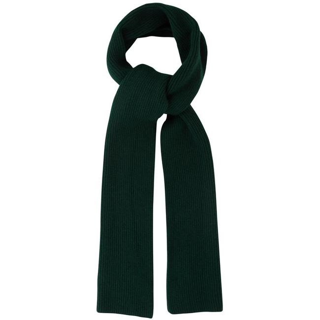 Mr. Crevan Plain Rib Wool Scarf Tartan Green