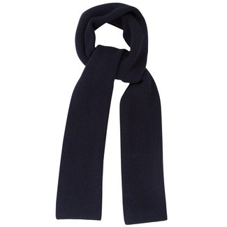 Mr. Crevan Plain Rib Wool Scarf Navy