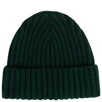 Mr. Crevan Plain Rib Wool Beanie Tartan Green