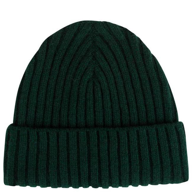Mr. Crevan Plain Rib Wool Beanie Tartan Green