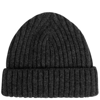 Mr. Crevan Plain Rib Wool Beanie Charcoal