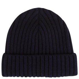 Mr. Crevan Plain Rib Wool Beanie Navy