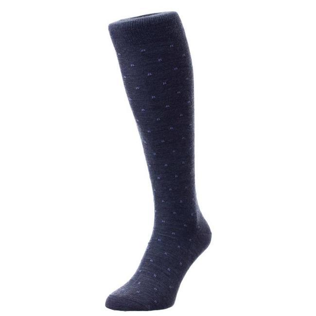 Pantherella OTC Socks Dark Grey Pattern Merino Wool Banim