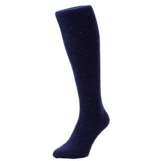 Pantherella OTC Socks Navy Pattern Merino Wool Banim