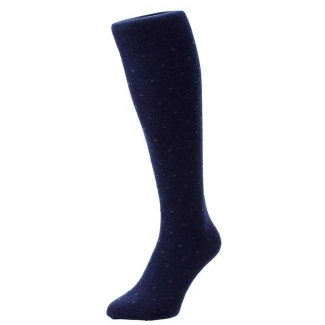 Pantherella OTC Socks Navy Pattern Merino Wool Banim