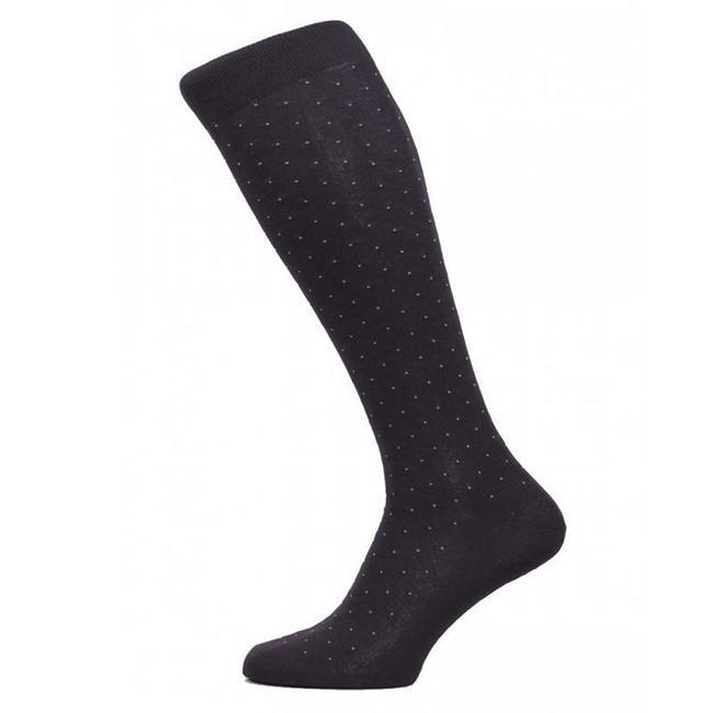 Pantherella OTC Socks Black Pin Dot Cotton Gadsbury