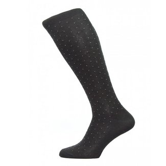 Pantherella OTC Socks Dark Grey Pin Dot Cotton Gadsbury