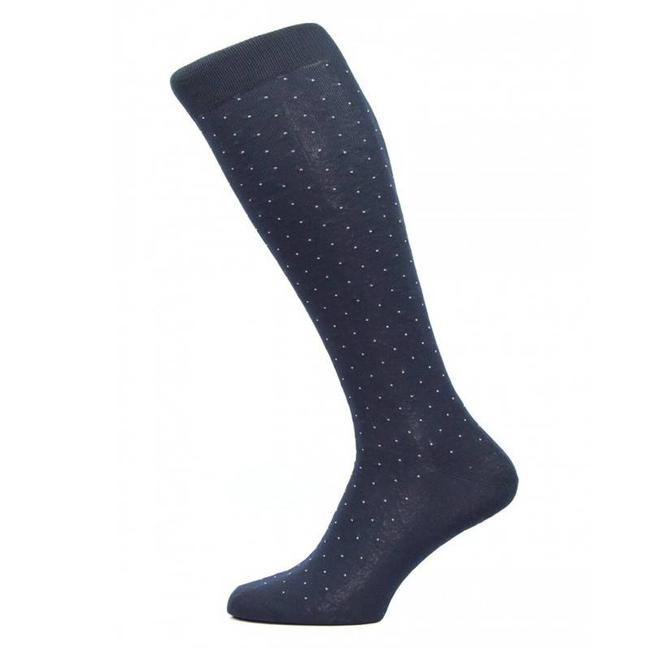Pantherella Kniestrümpfe Blau Pin Dot Baumwolle Gadsbury