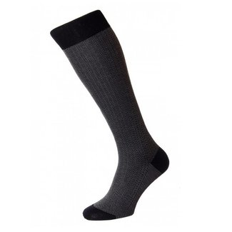 Pantherella OTC Socks Black Herringbone Cotton Fabian