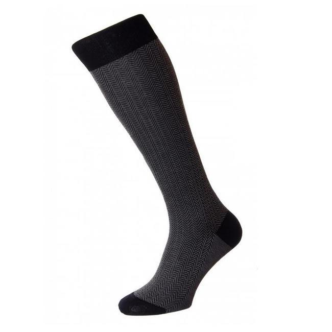 Pantherella OTC Socks Black Herringbone Cotton Fabian