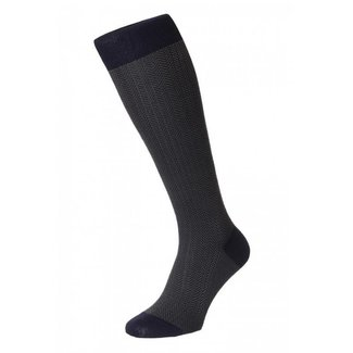 Pantherella OTC Socks Dark Blue Herringbone Cotton Fabian