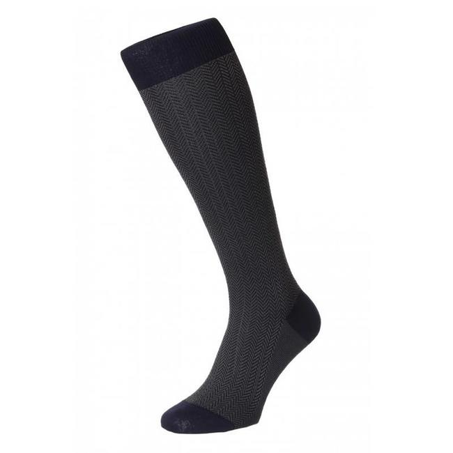 Pantherella OTC Socks Dark Blue Herringbone Cotton Fabian
