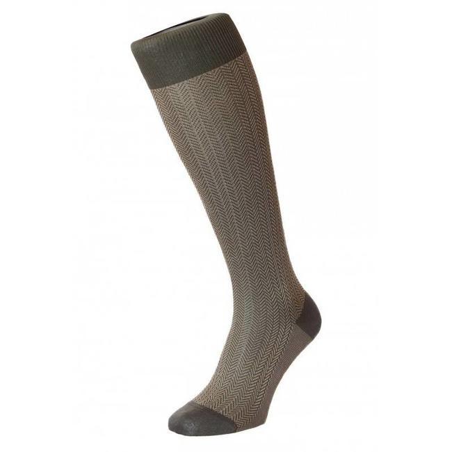 Pantherella OTC Socks Oliv Green Herringbone Cotton Fabian