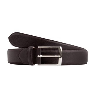 Leyva Grained Calf Leather Belt Dark Brown