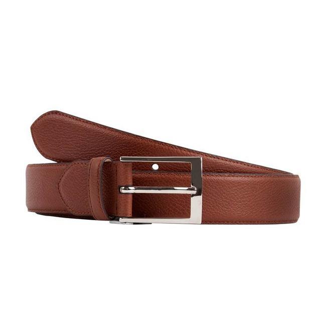 Leyva Grained Calf Leather Belt Medium Brown