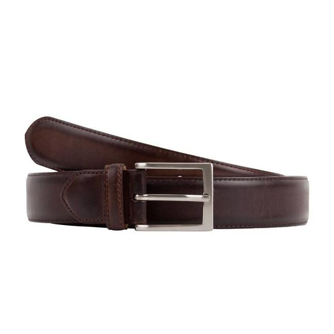 Leyva Burnished Calf Leather Belt Dark Brown