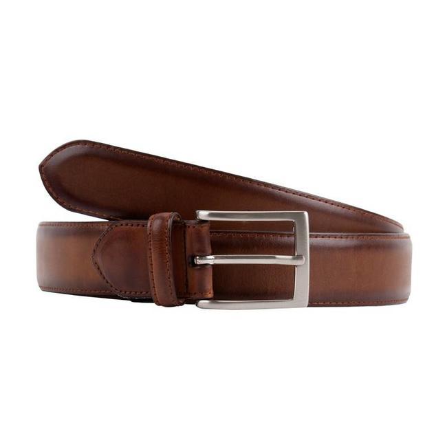 Leyva Burnished Calf Leather Men's Belt Medium Brown