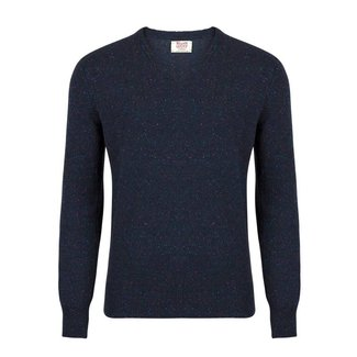 William Lockie Pullover Dunkelblau Lammwolle Donegal V-Ausschnitt