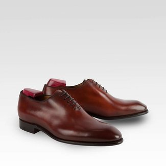 Carlos Santos Whole Cut Shoes in Wine Shadow Patina
