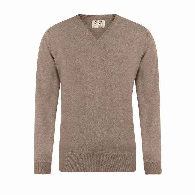 William Lockie Sweater Beige Gordon Geelong V-neck