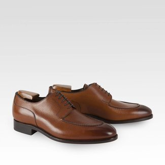 Carlos Santos Split Toe Derby Grain Havana Patina