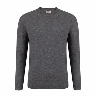 William Lockie Sweater Grey Lambswool Donegal Crew Neck