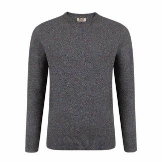 William Lockie Sweater Grey Lambswool Donegal Crew Neck