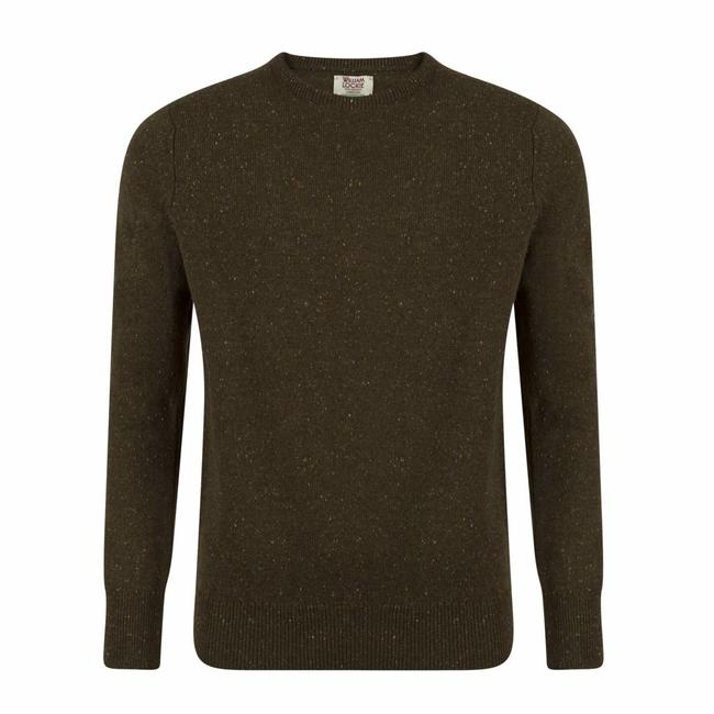 William Lockie Sweater Green Lambswool Donegal Crew Neck