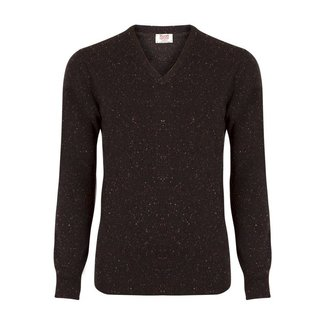 William Lockie Sweater Brown Lambswool Donegal V-Neck