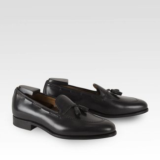 Carlos Santos Tassel Loafer Noir Shadow Patina