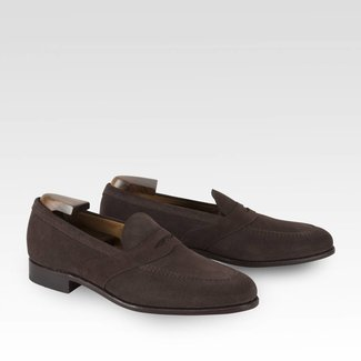Carlos Santos Penny Loafer Dark Brown Suède
