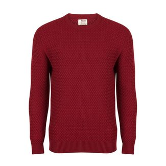 William Lockie Trui Rood Interweave Merino Wol