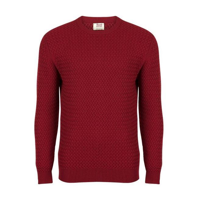 William Lockie Pullover Rot Interweave Merino Woll