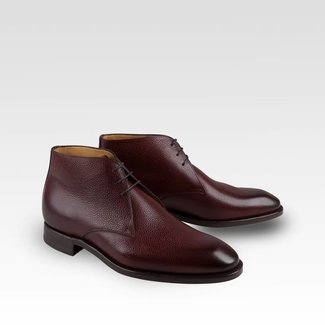 Carlos Santos Chukka Boots Grained Weinrot