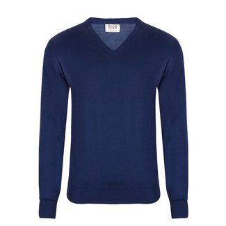 William Lockie Trui Blauw Merino Wol Vintage V-Hals
