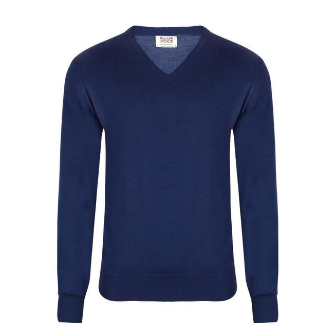 William Lockie Pullover Blau Merino Wolle Vintage V-Ausschnitt