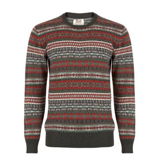 William Lockie Pullover Grün Lammwolle Fair Isle Rundhals