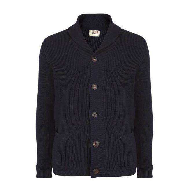William Lockie Shawl Cardigan Navy Merino Wool Jamie