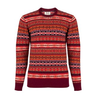 William Lockie Sweater Burgundy Lambswool Fair Isle Crew Neck